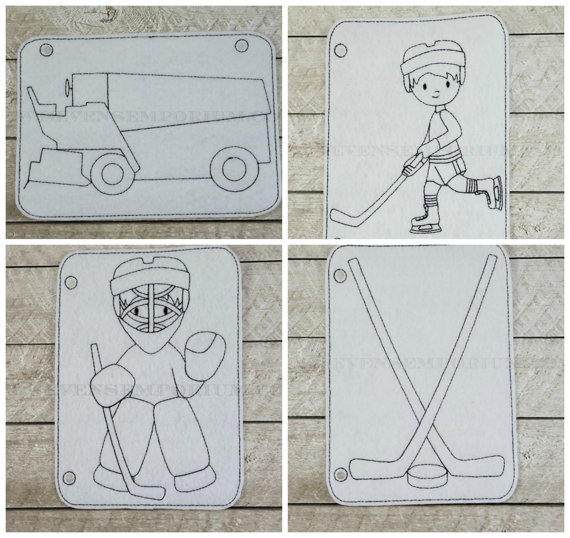 4b360d4797a68 Ice Hockey SET In The Hoop Doodle-It Coloring Page Machine ...