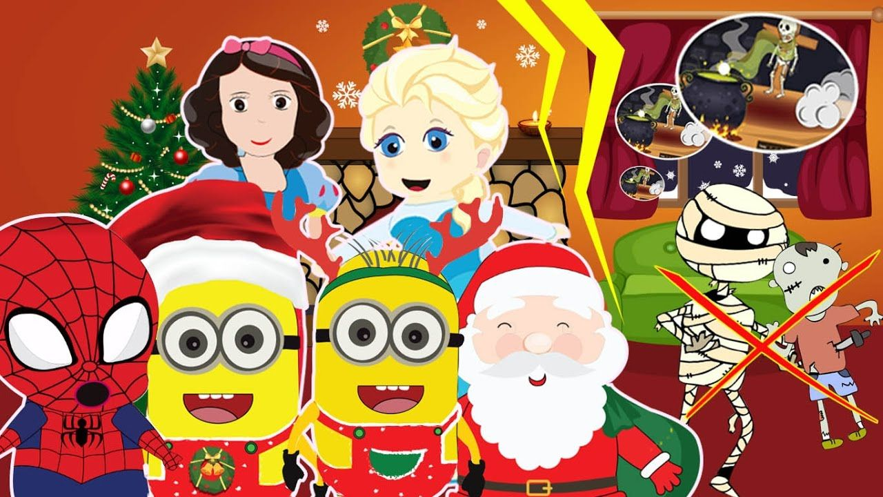 elsa and spiderman on christmas day minions merry christmas song mal - Minion Christmas Song