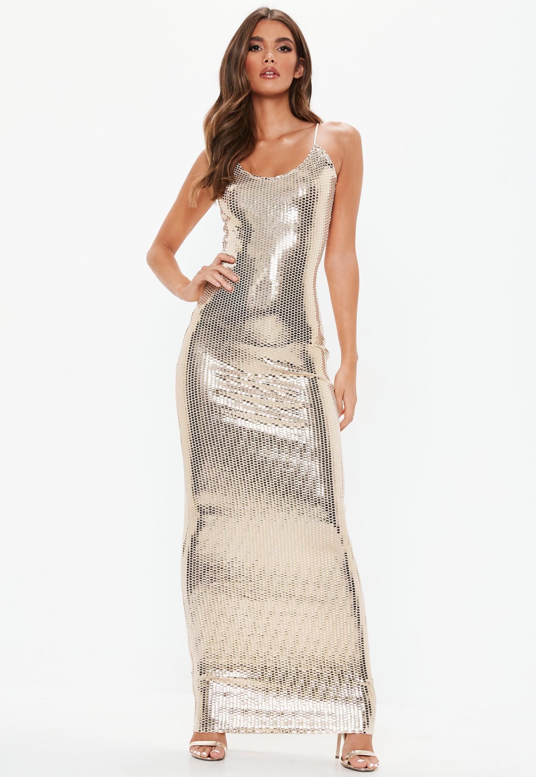 Gold Strappy Sequin Maxi Dress Sequin Maxi Dress Plunge Maxi Dress Girls Maxi Dresses [ 1180 x 740 Pixel ]