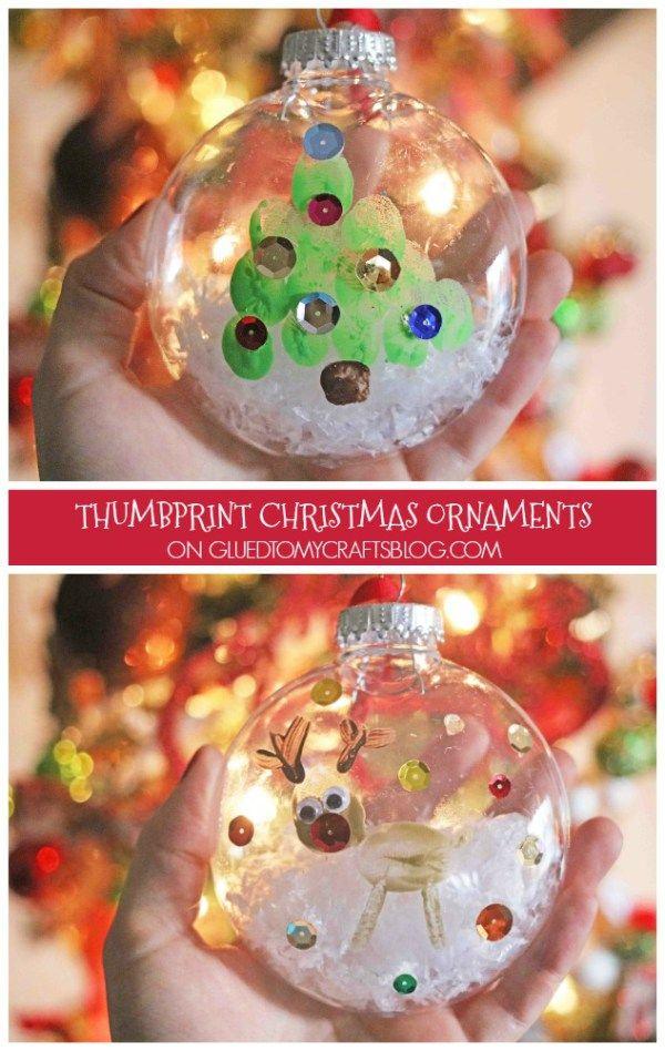 Thumbprint Christmas Ornaments - Kid Craft Idea