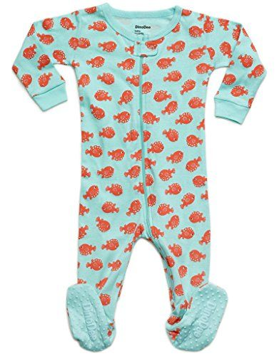 9cf9864a13 DinoDee Baby Girls Fish Footed Sleeper Pajama 100% Cotton (6M-5Years)     Click here for more details