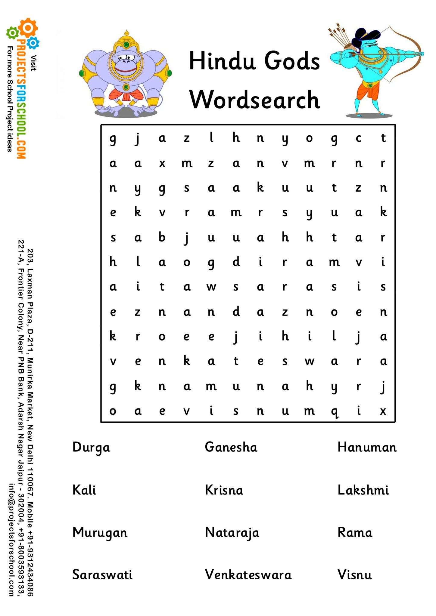 Hindu Gods Wordsearch