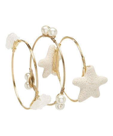 Loving this Goldtone & White Agate Starfish Wire Bangle Set on #zulily! #zulilyfinds