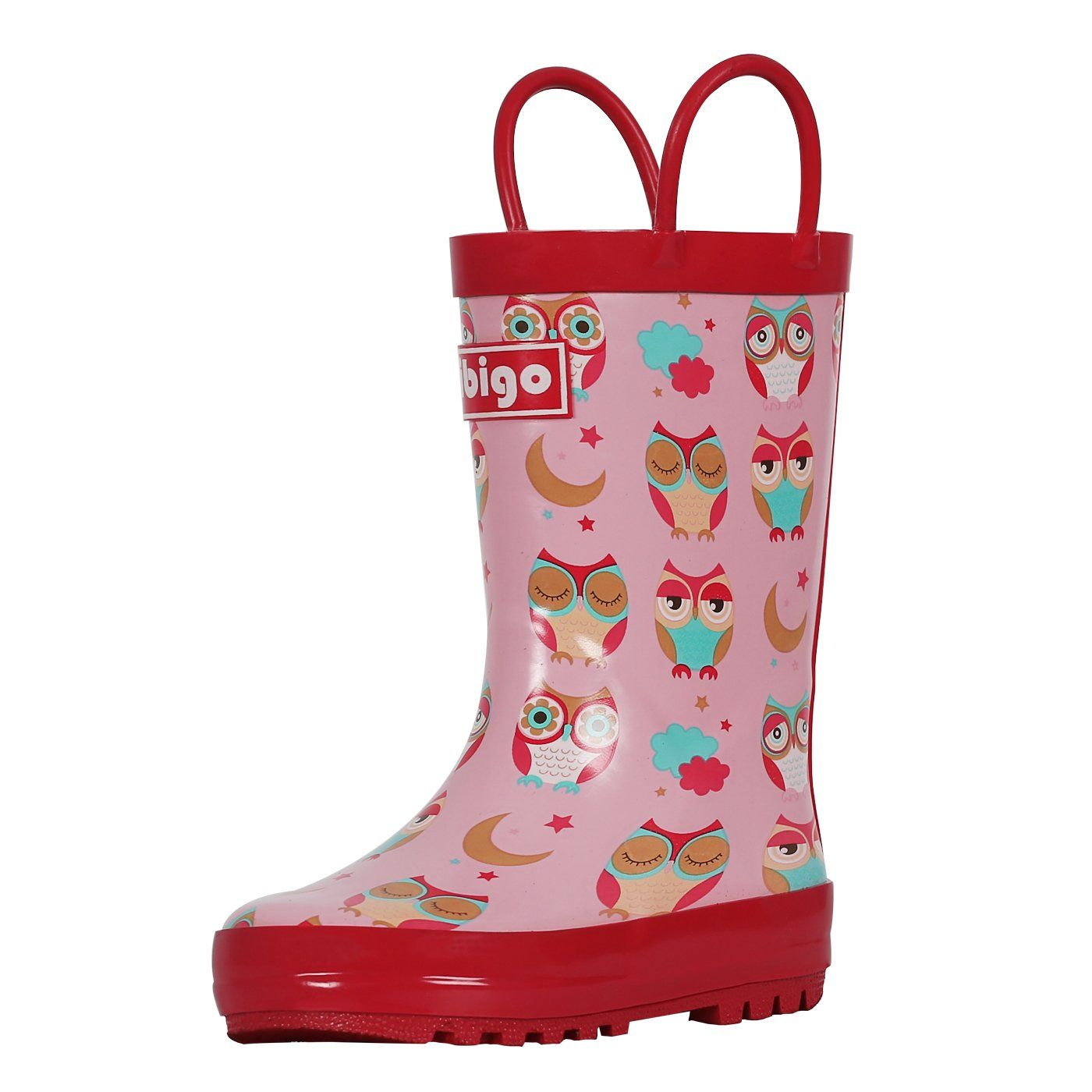 Short Girl Rain Boots for Toddler and Kids Rubber Rain Boots with Easy-On Handles Red