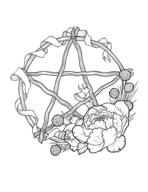 Wheel of the Year Sabbat Pentagram Wreath Prints
