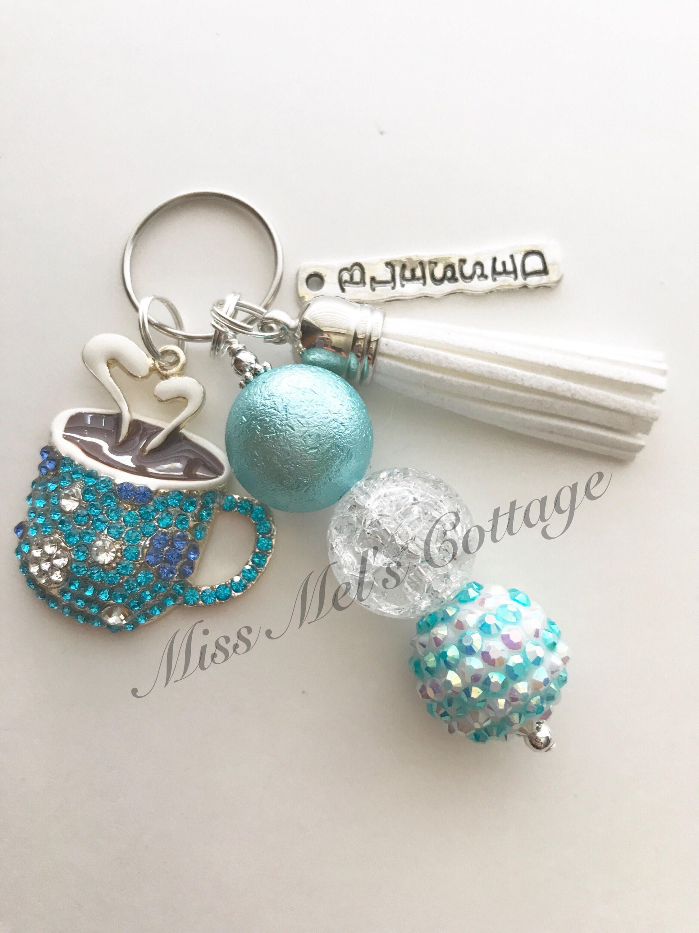 Bling Coffee Hot Chocolate Keychain charm with accent beads and tassel with  optional blessed charm tassel keychain purse bag charm by MissMelsCottage on  ... d8aa6a0af9b2