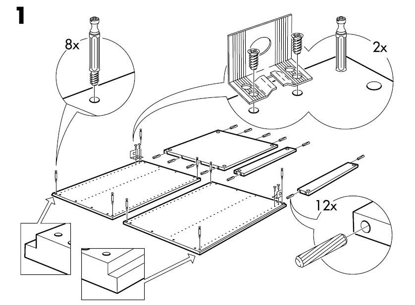 Ikea Akurum Base Cabinet Frame Assembly Instruction Drawing