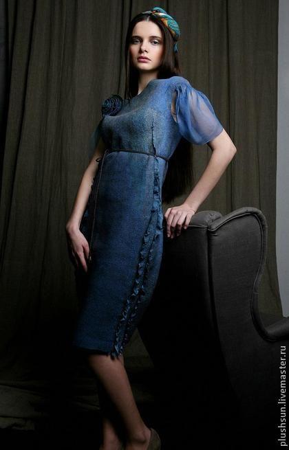4e281c4a02a Платья ручной работы. Ярмарка Мастеров - ручная работа. Купить Валяное  платье «Полет зимородка». Handmade. Морская волна