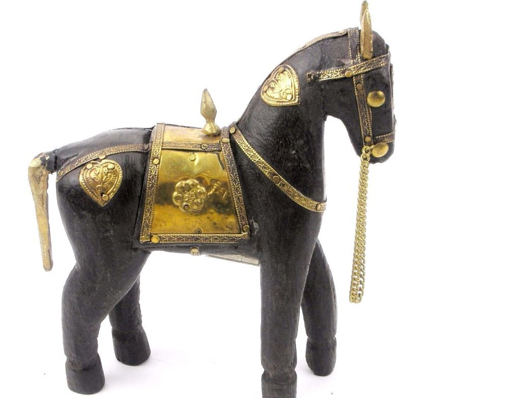 Antique Hand Carved Wooden Armored Horse Hammered Copper