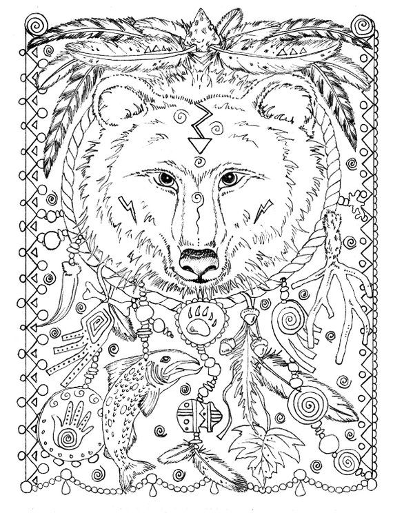 5 Pages Instant Download Animal Spirits To Color Wolf Raven Etsy In 2021 Animal Coloring Pages Bear Coloring Pages Coloring Pages