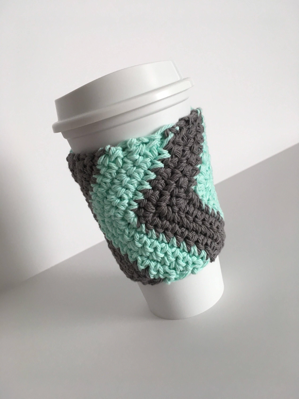 Crochet Chevron Cup Cozy In Mint And Grey Cup Koozie Mug Sleeve