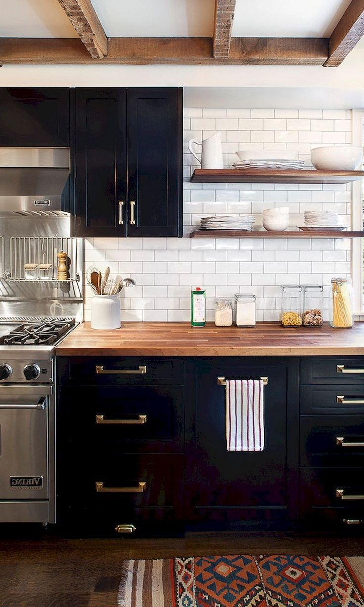 59 Marvelous Black Kitchen Cabinets Design Ideas Kitchendesign Kitchenremodel White Wood Kitchens Black Kitchen Cabinets Kitchen Cabinet Design