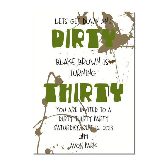 DIRTY THIRTY PARTY invitation Surprise Party invitation 30th – Surprise 30th Birthday Invitations for Men