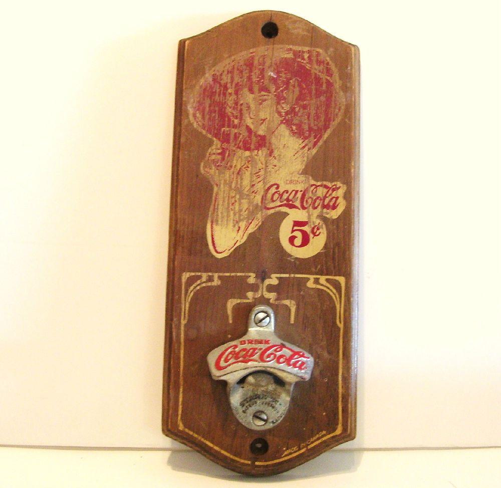 vintage starr x coca cola bottle opener wall mount wood plaque canada coca cola bottles wood. Black Bedroom Furniture Sets. Home Design Ideas