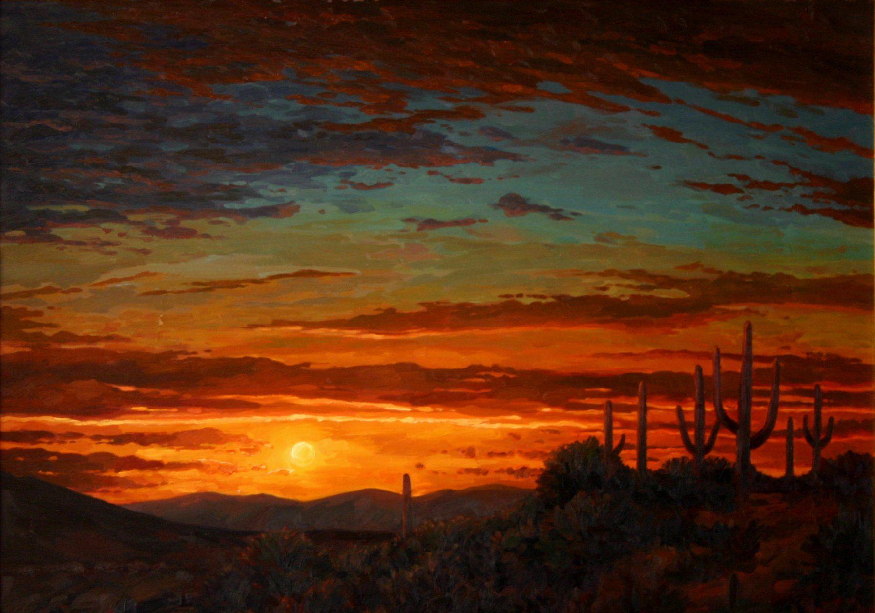 Desert Landscape Paintings   Impressionistic landscape painting of ...