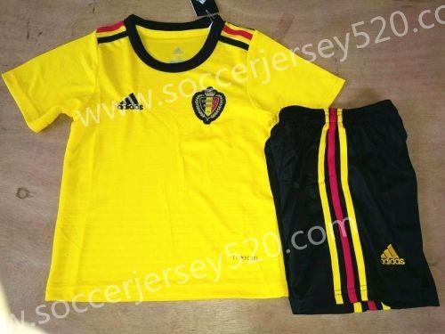 dac4e48a084 2018 World Cup Belgium Away Yellow Kids Youth Soccer Uniform ...