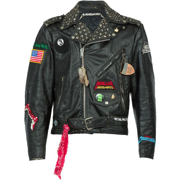Madeworn Metallica Concert Perfecto Jacket (4,435 CAD) ❤ liked on Polyvore featuring men's fashion, men's clothing, men's outerwear, men's jackets, black, mens real leather jackets, mens patch jacket, mens studded jacket, mens leather jackets and mens studded leather jacket