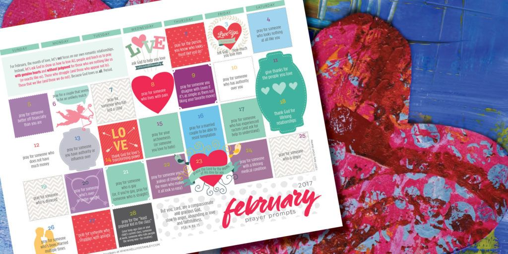 Free monthly #prayerprompt calendar to help you learn to love like God loves us during this month of celebrating love.  http://kellyostanley.com/wp-content/uploads/2015/03/February-2017-prayer-prompt-calendar.pdf