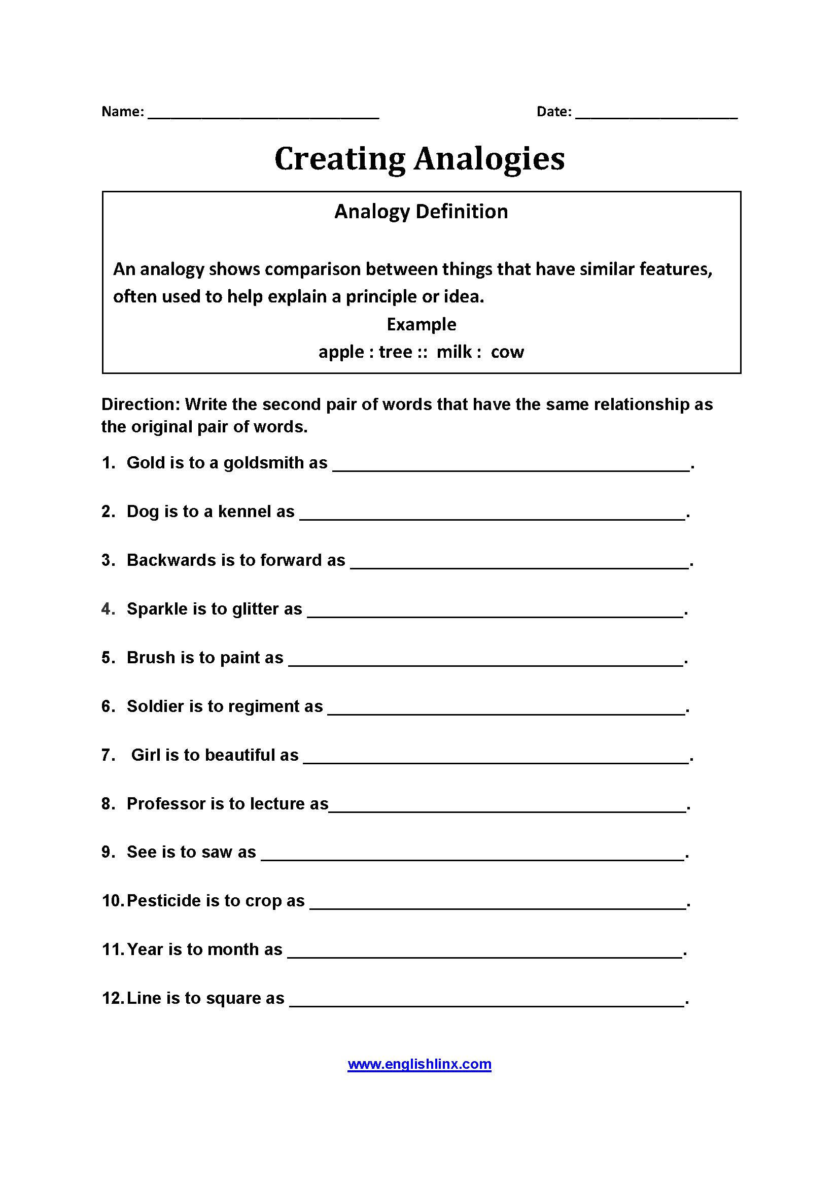 Creatingogy Worksheets