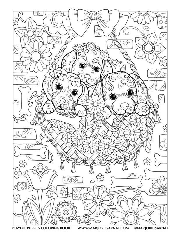 Hanging Basket Playful Puppies Coloring Book By Marjorie