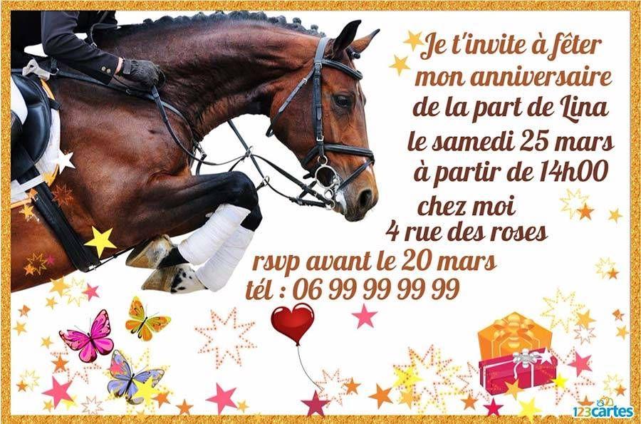 invitation anniversaire cheval de