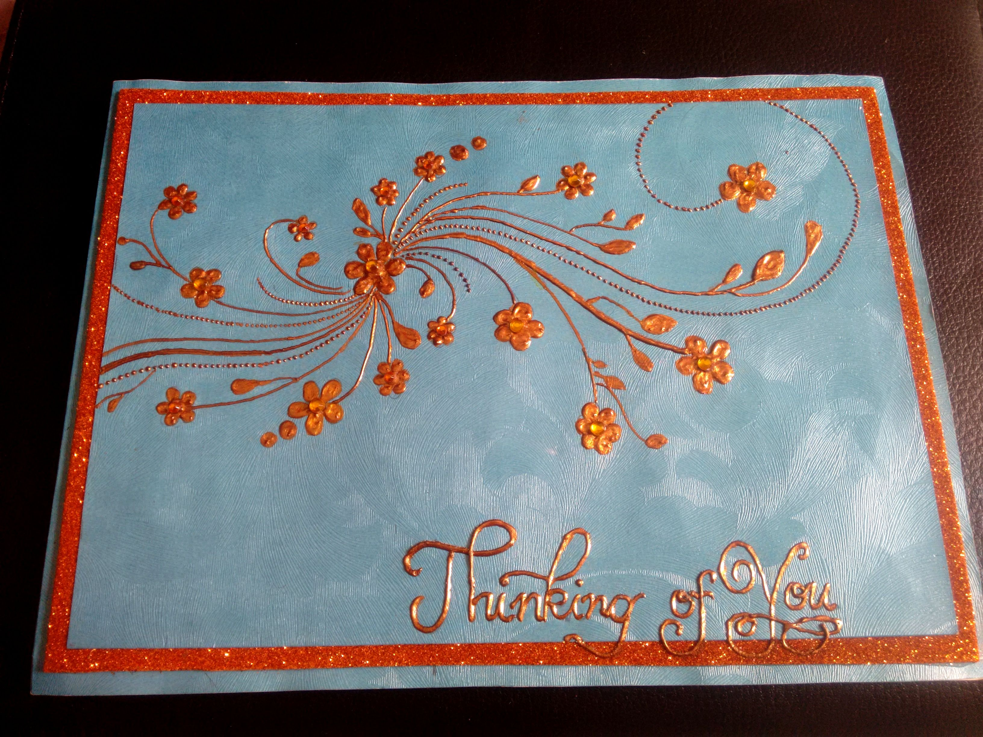 'Thinking about you' golden handmade card