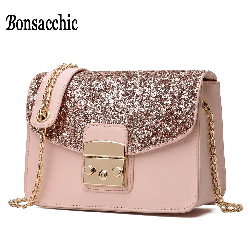 5c0e2ef2071a Bonsacchic PU Leather Women Messenger Bag Pink Ladies Crossbody Bag with  Chain Small Shoulder Bag for