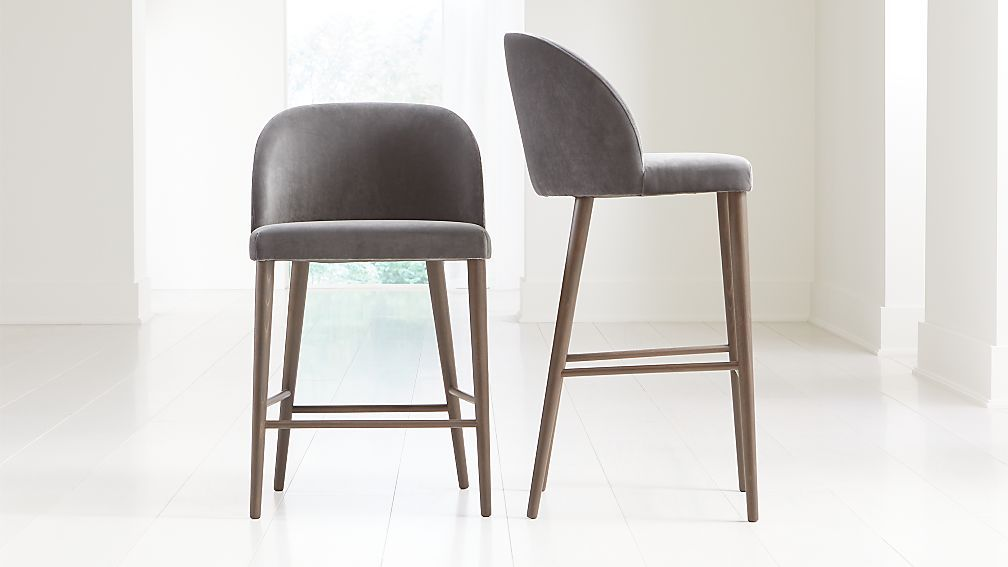 Camille Anthracite Velvet Bar Stools Crate And Barrel Bar