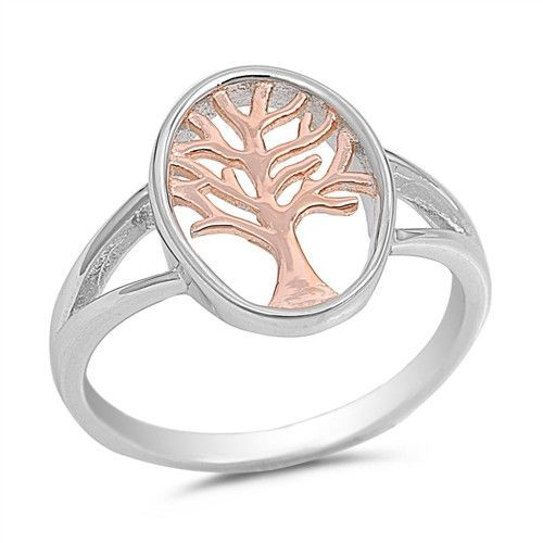 Tree of Life Ring Rose Gold Plated Sterling Silver Free Jewelry