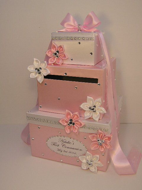 pink and white money card box / gift card box / baby shower card, Baby shower invitation