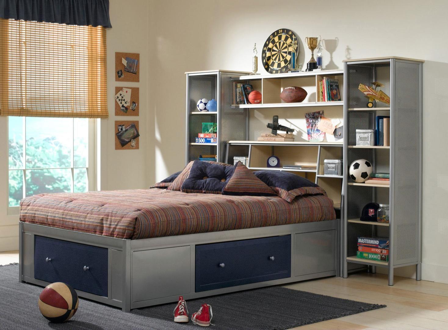 Hillsdale Furniture 1178472stgwp Brayden Series Full Size Bookcase Bed Platform Bedroom Sets Headboard Storage Shelves In Bedroom