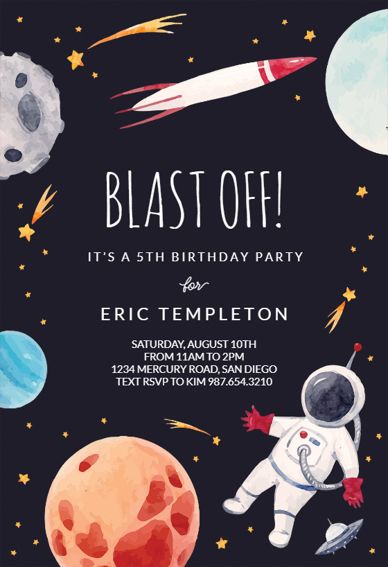 Outer Space Birthday Invitation Template (free