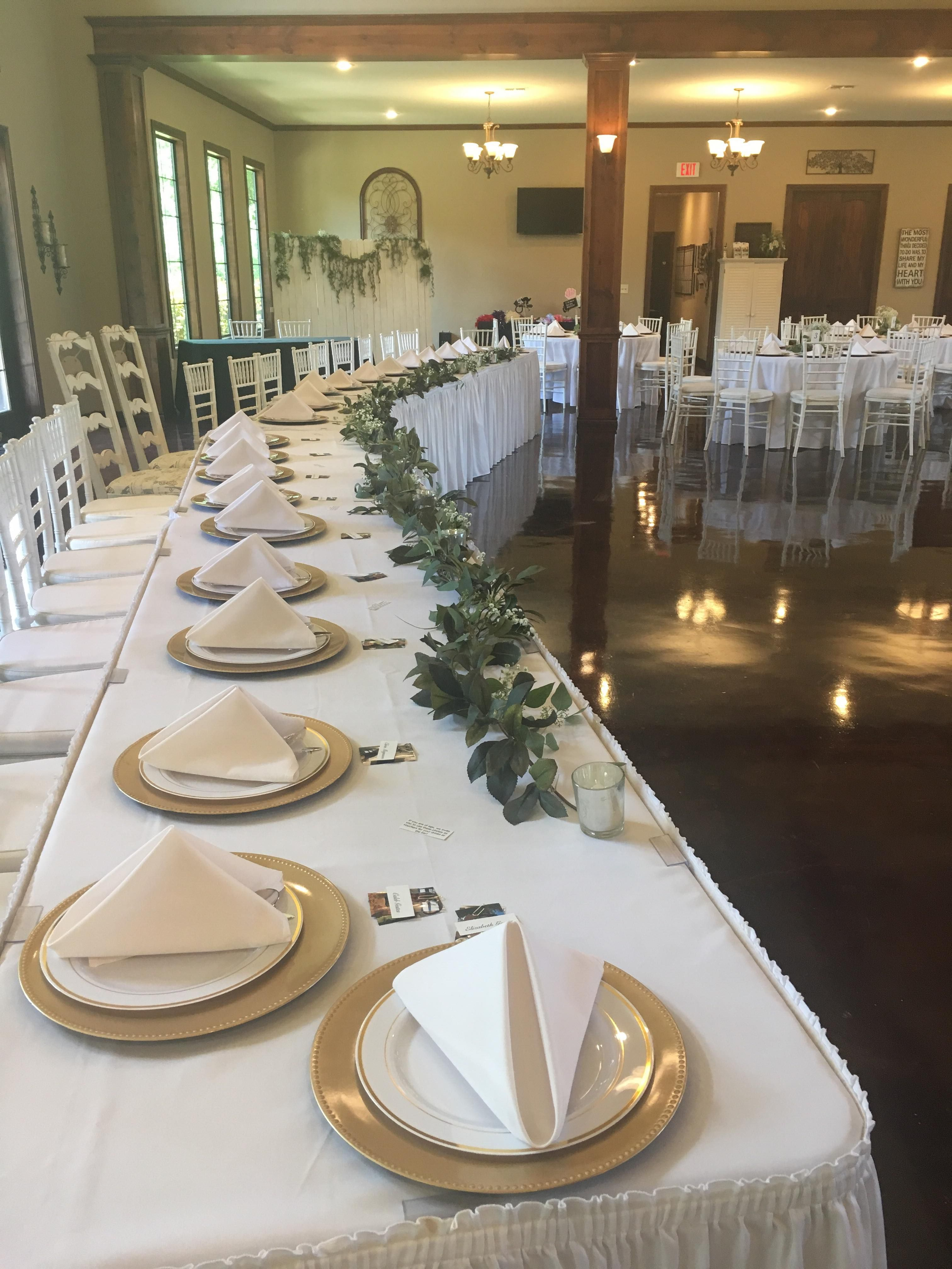 Elegant Banquet Head Table Garland Gold Accents When In