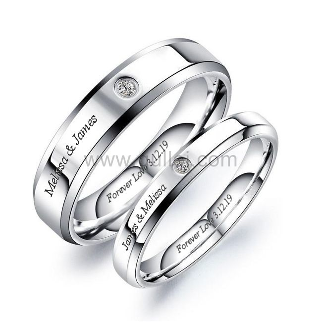 Titanium Engraved Couple Promise Rings In 2020 Promise Rings For