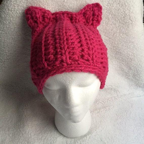 Pink Cat Hat, Hot Pink Cat Beanie, Pink Crochet Hat, Hot Pink Hat ...