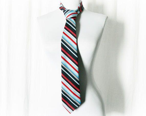 Dark Blue Diagonal Pinstriped Vintage Necktie