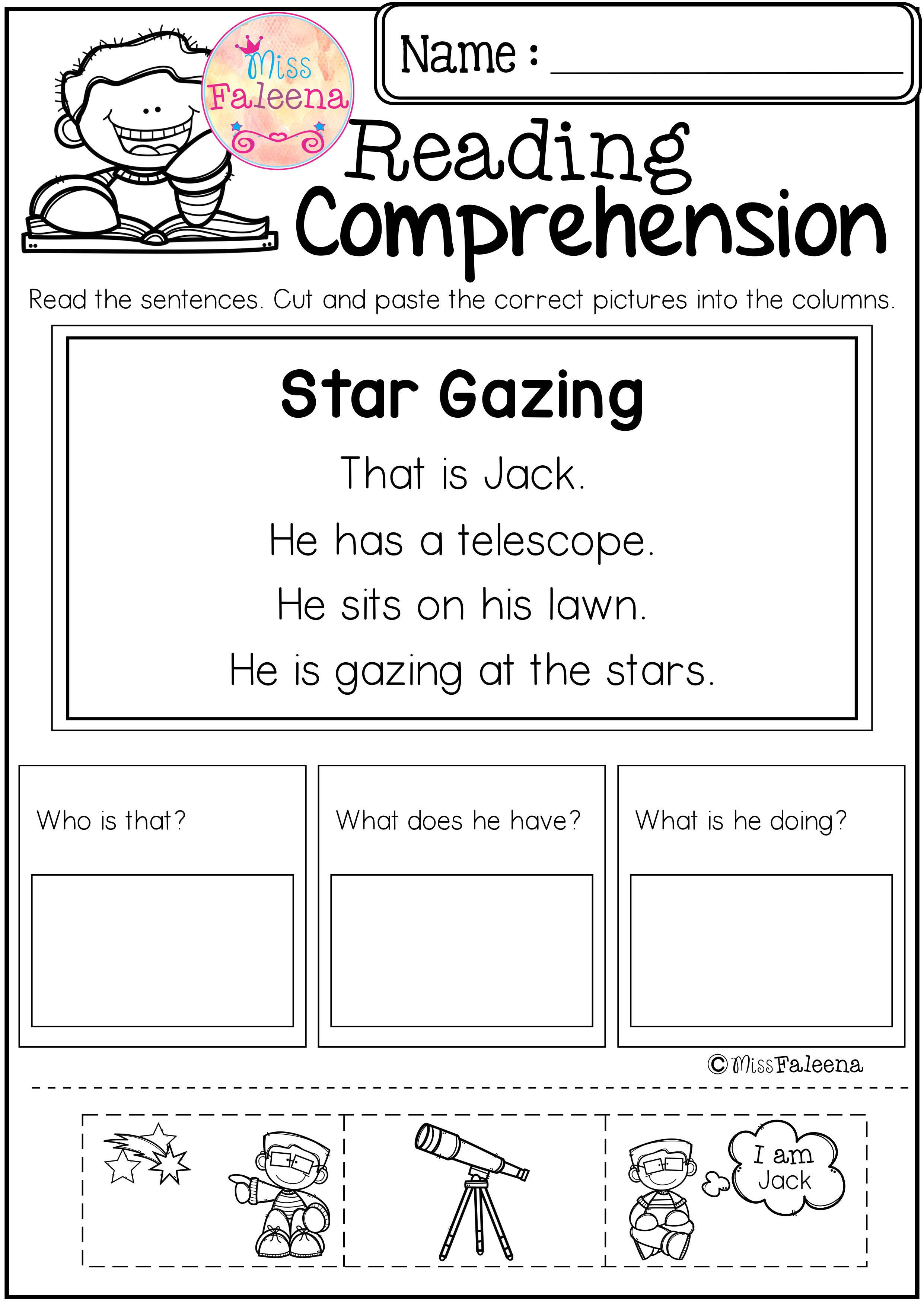 Free Reading Comprehension Cut and Paste | TpT Misc. Lessons | Pinterest