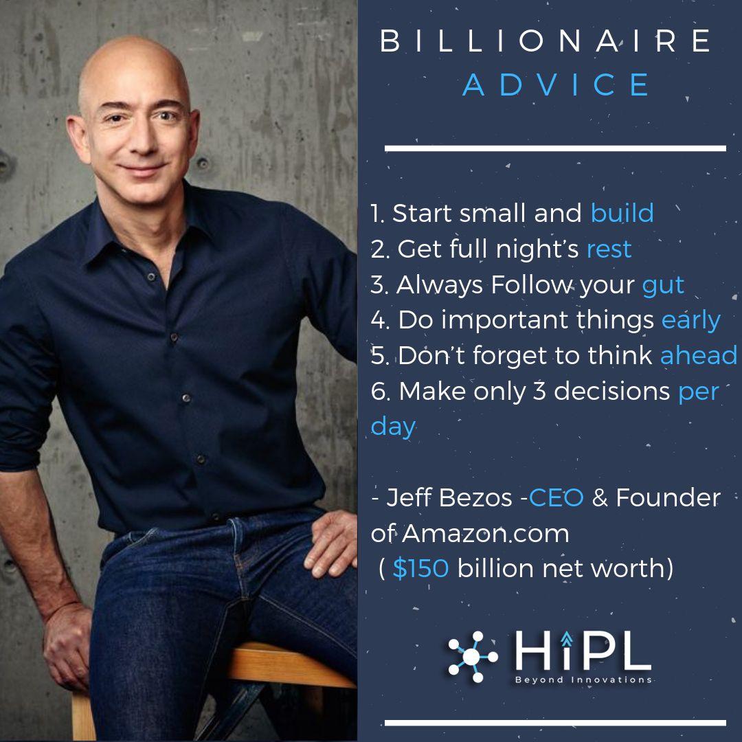 Billionaire advice from jeff bezos ceo founder of