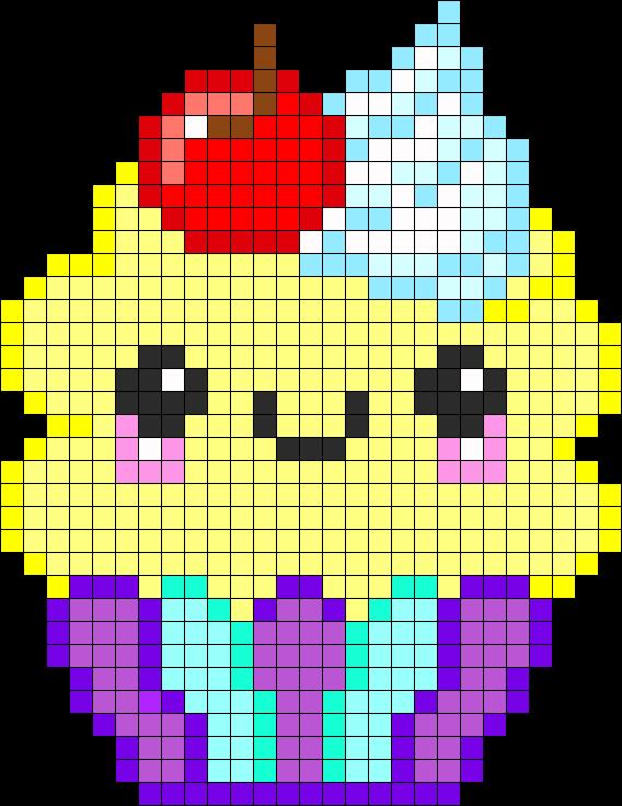 Cup cake kawaï pixel art #gateau #visage | diy | Pinterest ...