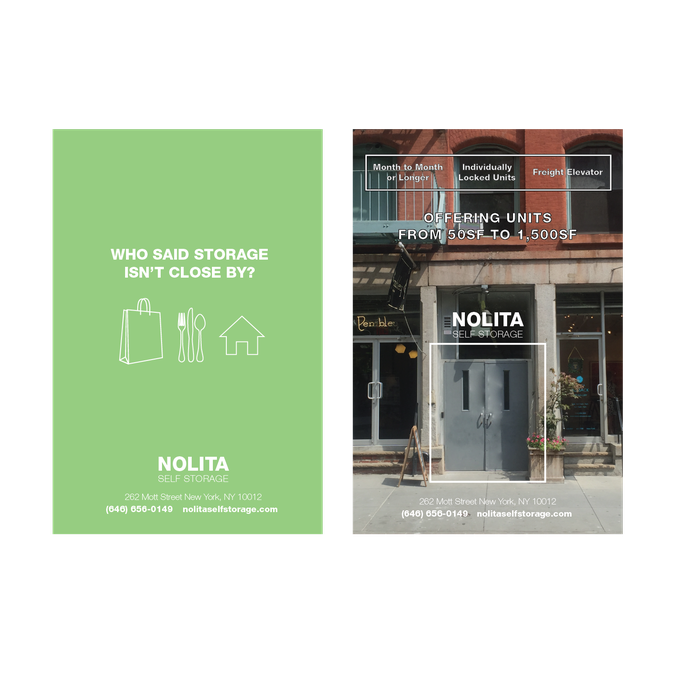 create a captivating marketing flyer for nolita self storage by