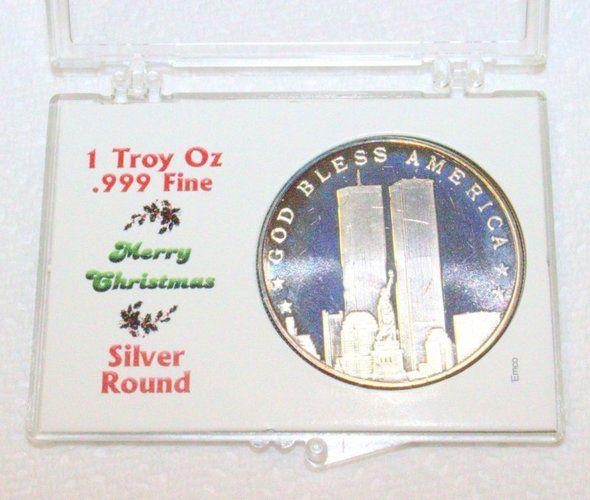9 11 Commemorative 1 Troy Oz 999 Fine Silver Round Starting At 30 On Tophatter Com Silver Rounds Fine Silver Silver