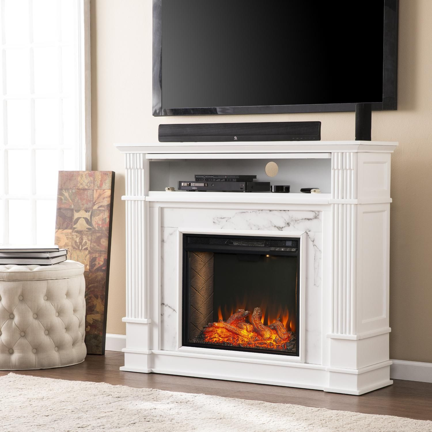Southern Enterprises Highgate Electric Alexa Enabled Smart Media Fireplace White Fs9322 Bbqguys Media Fireplace White Electric Fireplace Freestanding Fireplace
