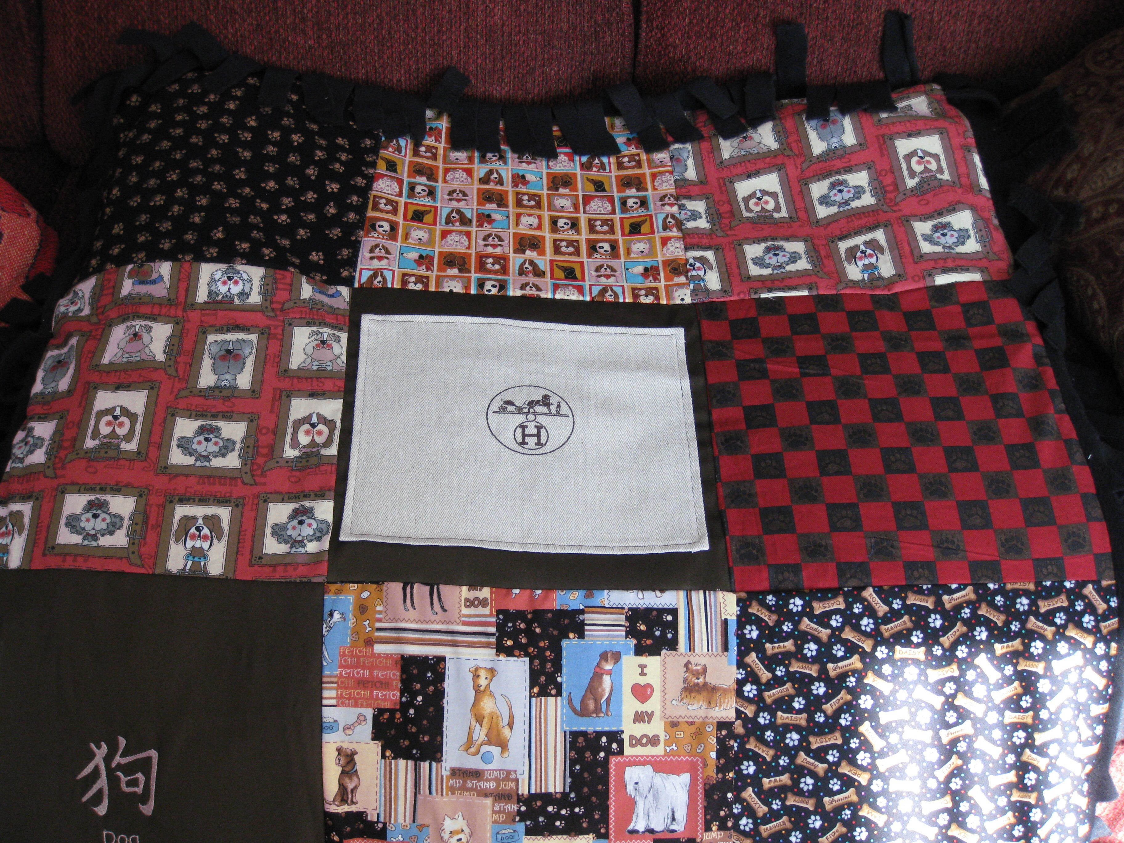 Dog blanket with Hermes dust bag cover incorporated in