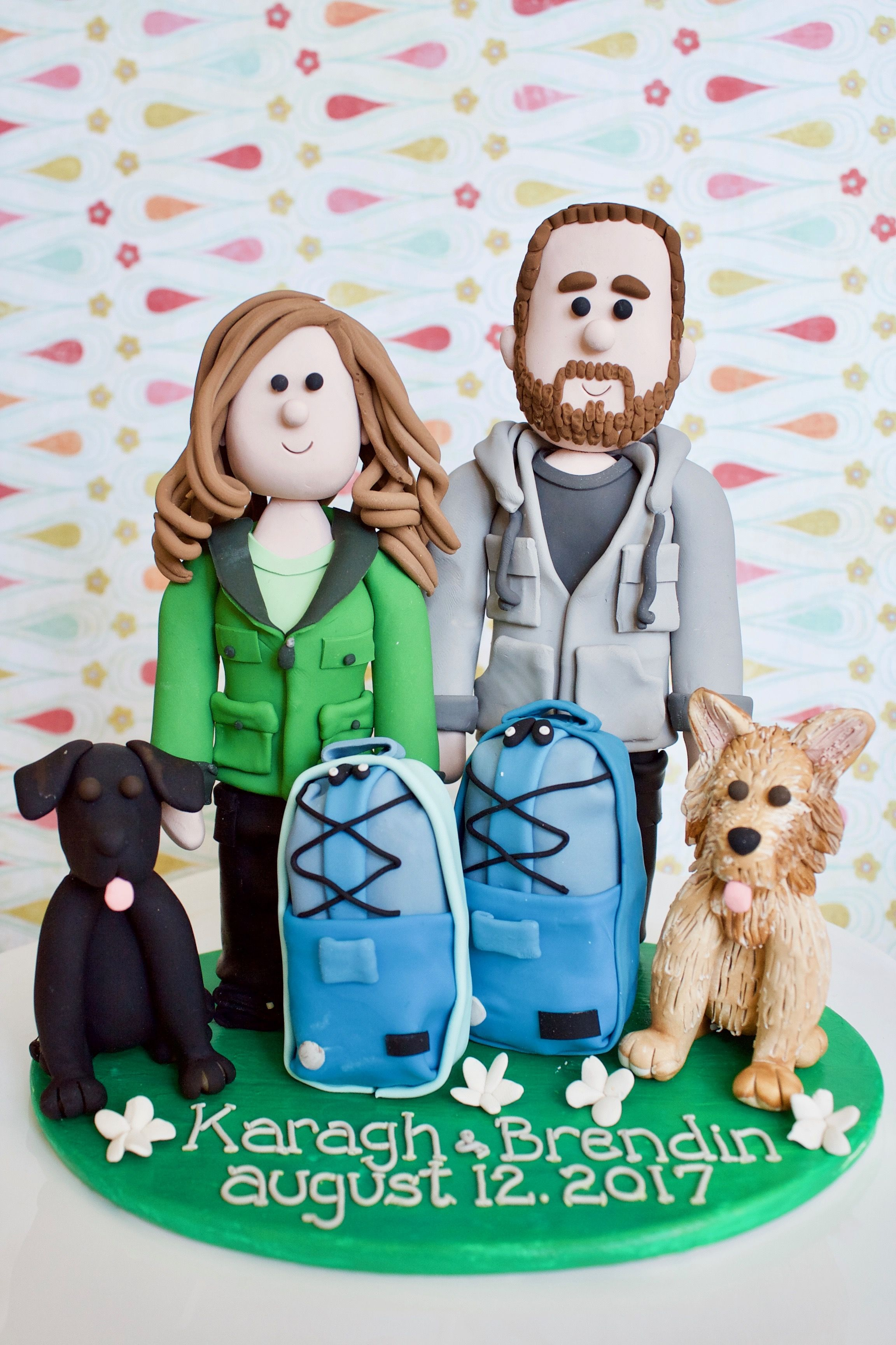 Avid hikers with dogs custom wedding cake topper hiking cake topper