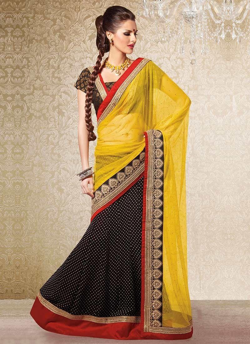 0bdc5c37ab Inspiring Yellow & Black Net Faux Georgette Lehenga Style Saree ...