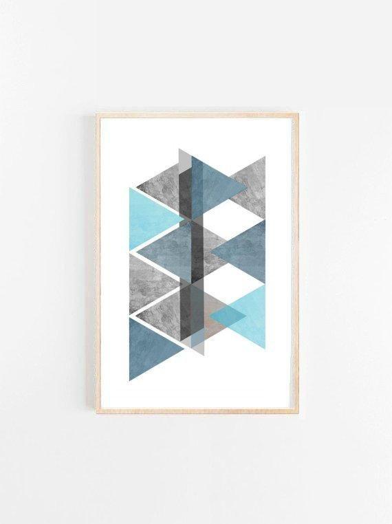 Blue Geometric Art, Triangle Print, Geometric Poster, Abstract Art Print, Scandinavian Print,  Gicle