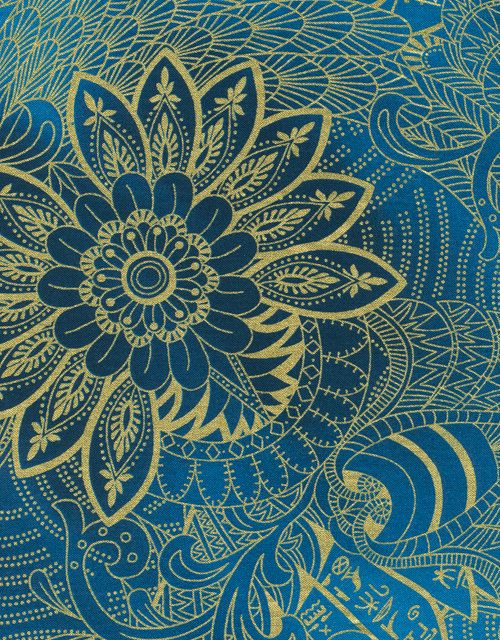 Hieroglyphic Floral Blue and Gold Legacy Timeless Treasures Fabric 1 ...