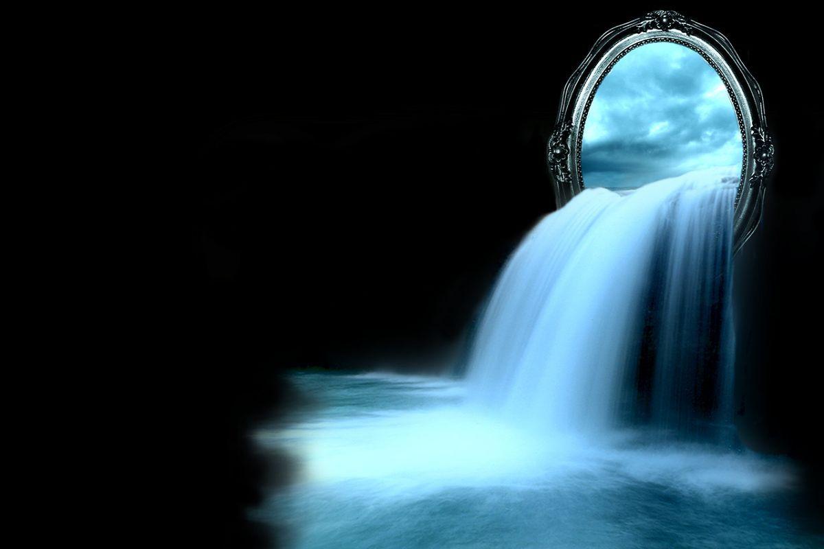 fantasy water falls | espejo, cascada, fantasy, mirror wallpaper