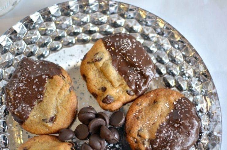 Dark chocolate sea salt dipped chocolate chip cookies