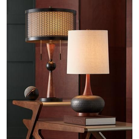 Hunter Bronze And Cherry Wood Table Lamp 20r05 Lamps Plus Mid Century Modern Table Lamps Farmhouse Table Lamps Table Lamp Wood